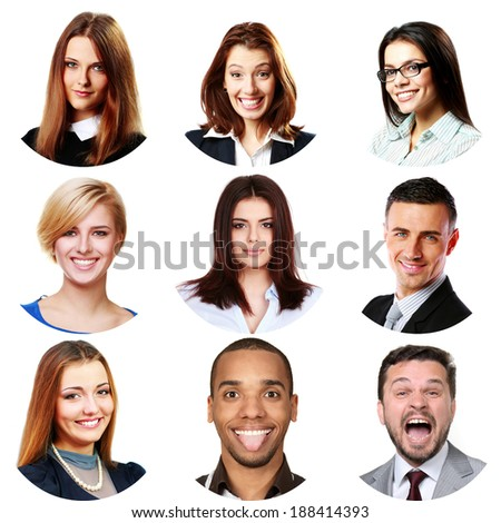 People faces collage. Men and women portraits isolated. - stock photo