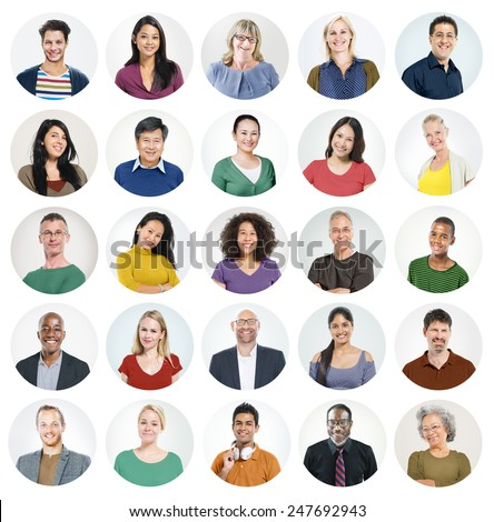 People Faces Portrait Multiethnic Cheerful Group Concept - stock photo