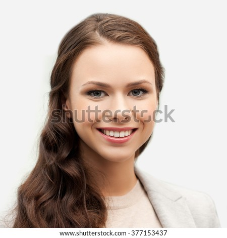 people, female, business and portrait concept - happy smiling young woman face - stock photo