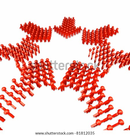 People form up in arrow - isolated - stock photo
