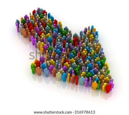 People form up in arrow , This is a computer generated and 3d rendered image. - stock photo