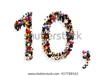 People forming the shape as a 3d number ten (10) and a comma symbol on a white background. 3d rendering . Part of a number people series that can be used also as an alternate number 1 or 0 - stock photo