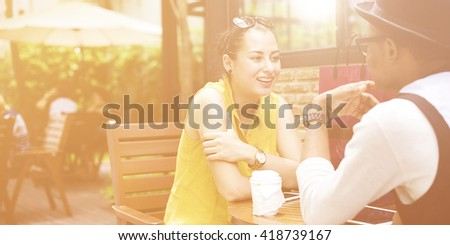 People Friendship Coffee Communication Discussion Talking Concept - stock photo