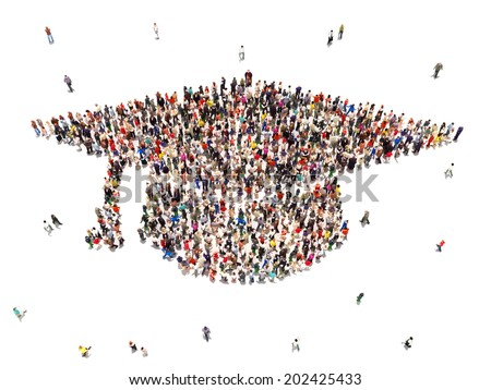 People getting an education. Large group of people in the shape of a graduation cap on a white background. - stock photo