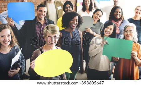 People Global Communications Speech Bubble Copy Space Concept - stock photo