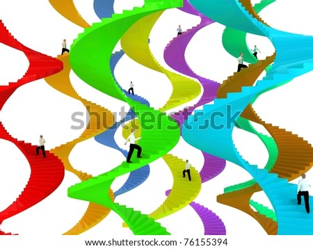 People goes on career stairs - stock photo