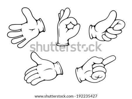 People hand gestures set in cartoon comics style. Vector version also available in gallery - stock photo