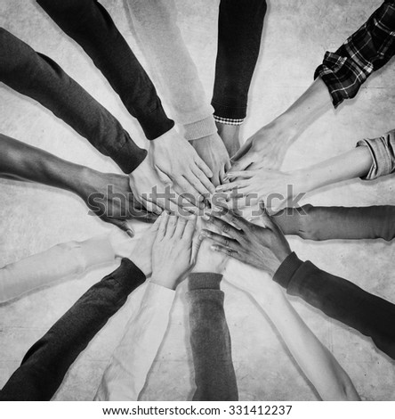 People Hands Together Unity Team Cooperation Concept - stock photo