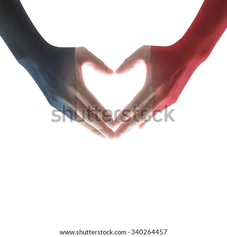 People hands with Blue white red flag pattern isolated on white background in heart shape expressing love, hope, faith: Symbolic design flag pattern on female women human hands with blank copy space  - stock photo