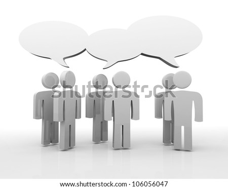 People having discussion, blank speech bubbles. - stock photo