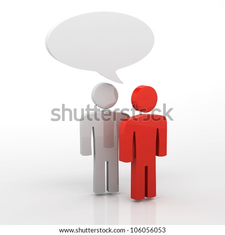 People having discussion, blank speech bubbles. One red and one white man - stock photo