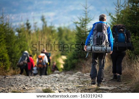 People hiking - goiing down a lovely alpine path - stock photo