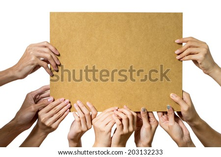 People holding blank bord on white background - stock photo