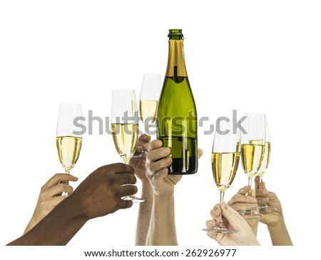 People holding champagne glasses and bottle isolated on white - stock photo