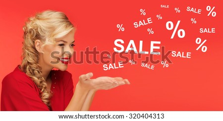 people, holidays, sale, shopping and advertisement concept - lovely woman in red clothes holding something on palms of her hands over red background with sale and percentage signs - stock photo