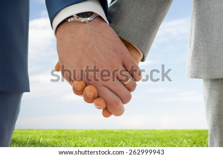 people, homosexuality, same-sex marriage and love concept - close up of happy male gay couple holding hands with wedding rings on over blue sky and grass background - stock photo