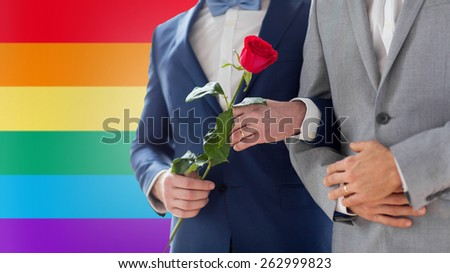 people, homosexuality, same-sex marriage and love concept - close up of happy male gay couple with red rose flower holding hands on wedding over rainbow flag background - stock photo