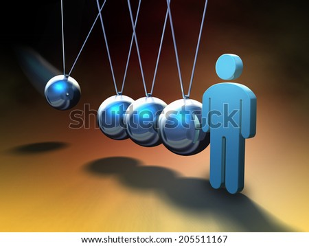 People icon about to be hit by a swinging sphere on a Newton's cradle. Digital illustration. - stock photo