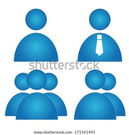 People icon. Blue - stock photo