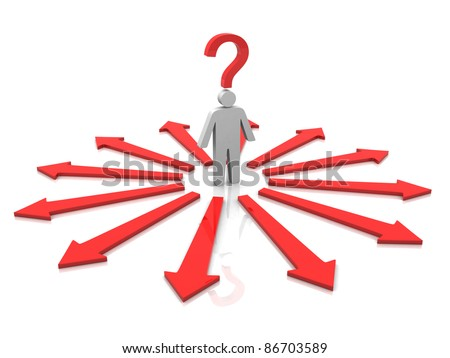 People icon with question mark over his head and surrounded by directional signs - 3d render - stock photo