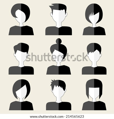 people icons black and white - stock photo