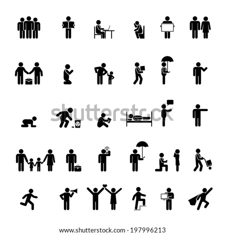 people icons in various poses. Family, love and interaction - stock photo