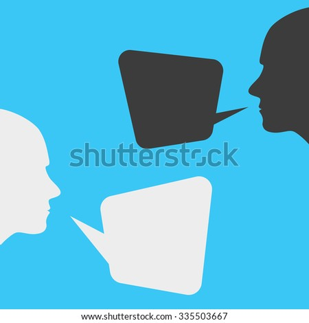 people icons with dialog speech bubbles - stock photo