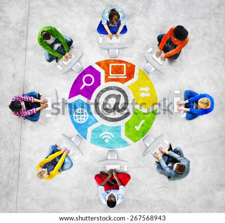 People in a Circle Using Computer with Email Concept - stock photo
