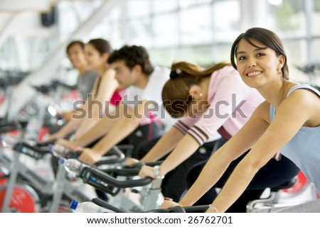 People in a class at the gym - stock photo