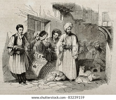 People in a Constantinople street. By unidentified author, published on Magasin Pittoresque, Paris, 1840 - stock photo