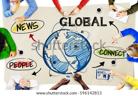 People in a Meeting and Global Network Concepts - stock photo
