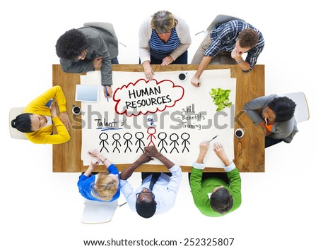 People in a Meeting and Human Resources Concept - stock photo