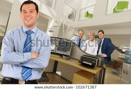 People in a modern beautiful office - stock photo