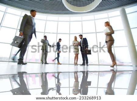 People in business center - stock photo