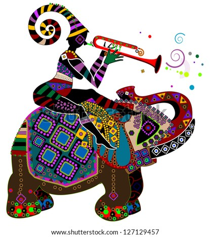 people in ethnic style, sitting on the back of an elephant playing a gay music - stock photo
