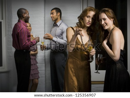 People in formal dress on a party - stock photo