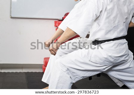People in kimono training martial arts - stock photo