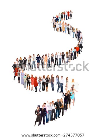 People in Queue Isolated over White  - stock photo