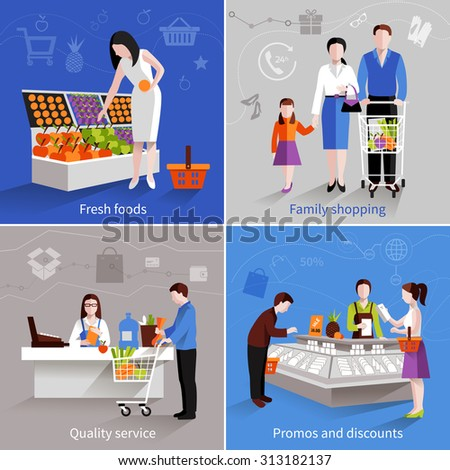 People in supermarket design concept set with fresh fruits family shopping quality service promos and discounts flat icons isolated  illustration - stock photo