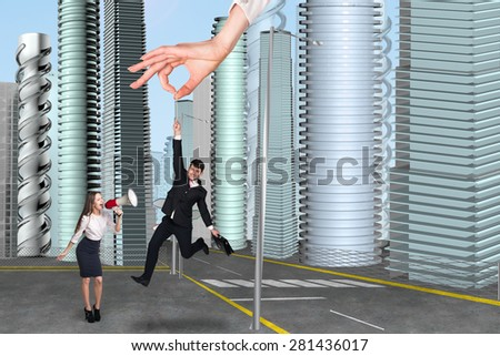 People in the city. Man hang by a thread - stock photo