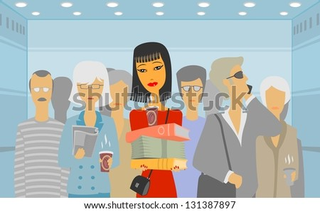 People in the elevator - stock photo