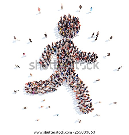 people in the form of a running man. - stock photo
