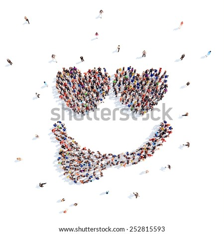 people in the form of a smile. - stock photo