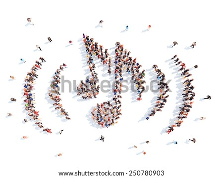 people in the form of notes. - stock photo