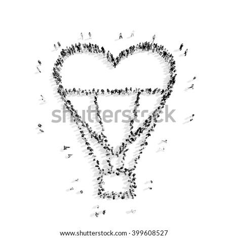people in the shape of a balloon, heart - stock photo