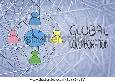 people interacting across the world, metaphor of global business communications, networks and collaboration - stock photo