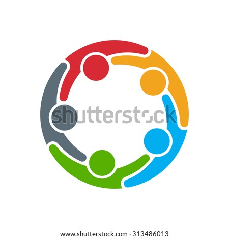 People logo. Group of five persons in circle  - stock photo