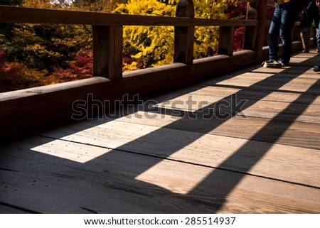 People looking at Colorful Autum Scene along Wooden Pathway - stock photo