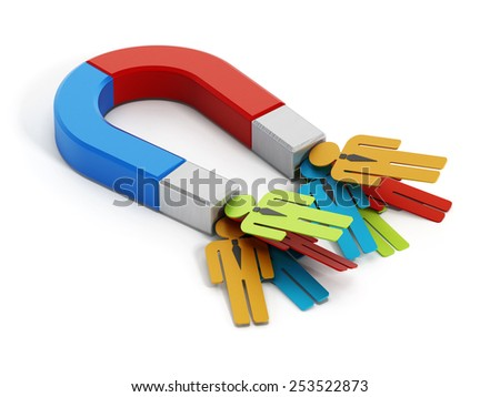 People magnet attracting multi-colored people shapes. - stock photo