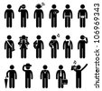 People Man Male Fashion Wear Body Accessories Icon Symbol Sign Pictogram - stock photo